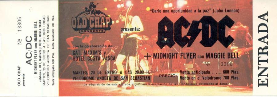 Ac/Dc Ac/Dc(Velodromo Anoeta S.Sebastian 1981)(Spanish 1981 Original Inused Concert Ti MEMORABILI