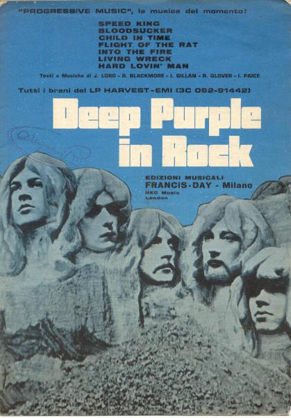 Deep Purple Deep Purple In Rock(Italian 1970 Original Full Lp Music Sheet) MEMORABILI