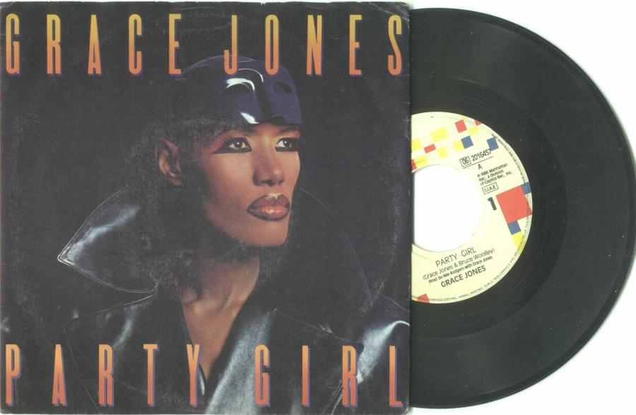 Jones,Grace Party+Girl(Italian+1987+2-Trk+7''+Single+Full+Ps) 45:PICSLEEVE