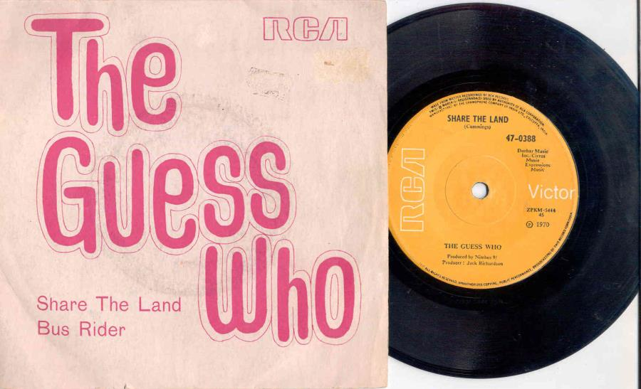Guess Who Share The Land(Indian 1970 2-Trk 7'' Single Unique Ps) 45:PICSLEEVE