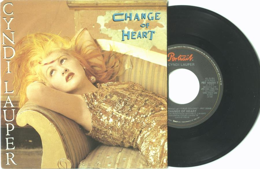 Lauper,Cyndi Change Of Heart(Italian 1986 2-Trk 7'' Single Full Ps) 45:PICSLEEVE