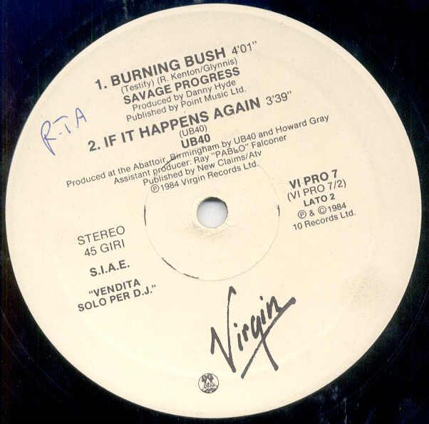 Savage Progress Burning Bush(Italian 1984 W/Label 12'' Promo Sampler On Virgin Lbl) 12''