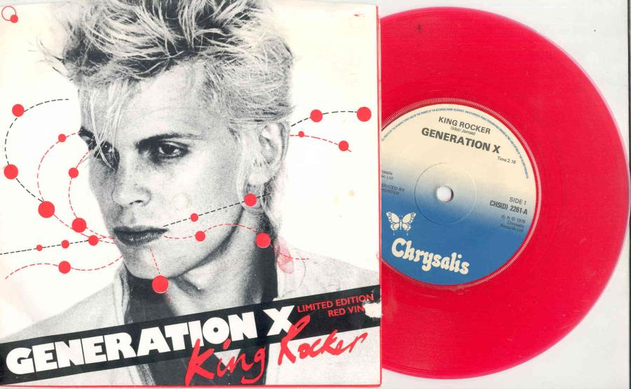 Billy Idol / Generation X King+Roker(Uk+1979+Ltd+2-Trk+7''+Red+Vinyl+'Idol'+Ps) 45:PICSLEEVE