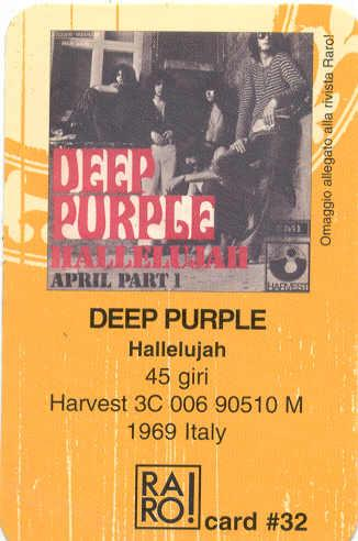 Deep Purple Hallelujah(Italian Promo 'Telephone Card' From Raro Magazine) MEMORABILI