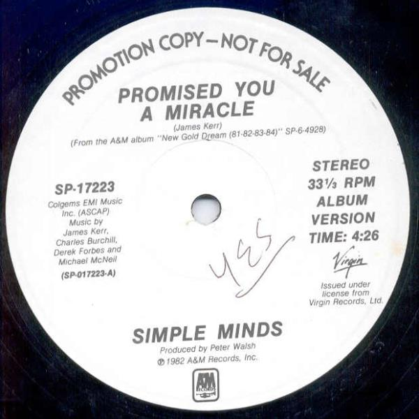 Simple Minds Promised+You+A+Miracle(Usa+1982+2-Trk+W/Label+12''+Promo) 12''