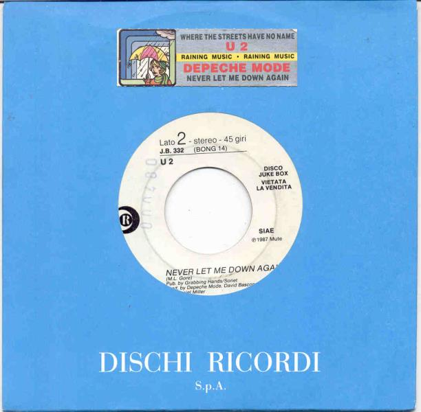 Depeche Mode Never Let Me Down Again(Italian 1987 1-Trk W/Label 7'' Promo Title Stickered Comp 45:PICSLEEVE