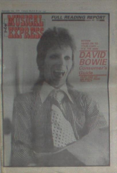 Bowie,David New Musical Express(02.09.1978)(Uk 1978 Bowie Front Cover Magazine) MEMORABILI