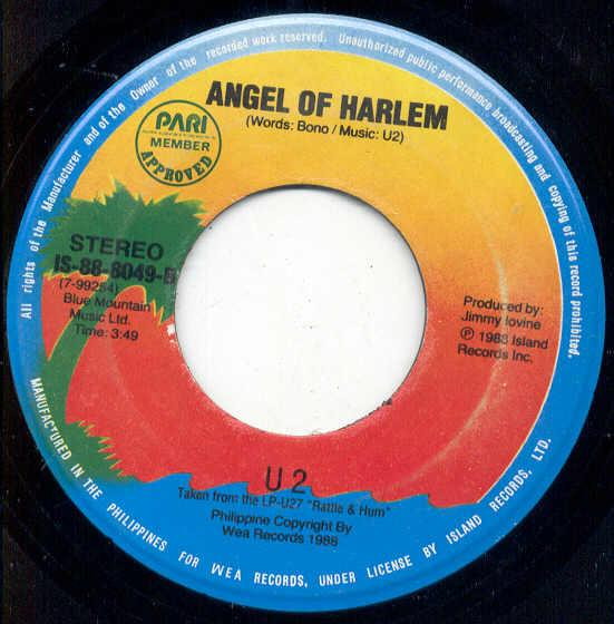 U2 Angel+Of+Harlem(Philippines+1989+2-Trk+7''+Single+On+Island+Palm+Lbl) 7''