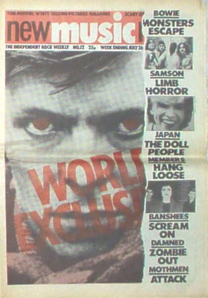 Bowie,David New Music News(26 July 1980)(Uk 1980 Bowie Front Cover Magazine) MEMORABILI