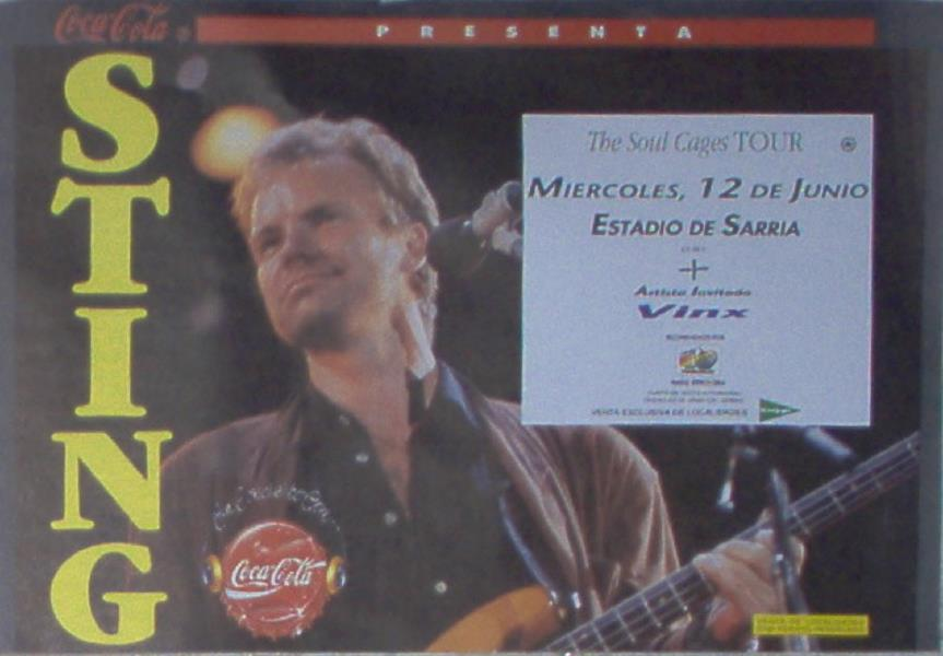 Sting Estadio Sarria''(12.06.1991)(Spanish 1991 Original Concert Poster) POSTER