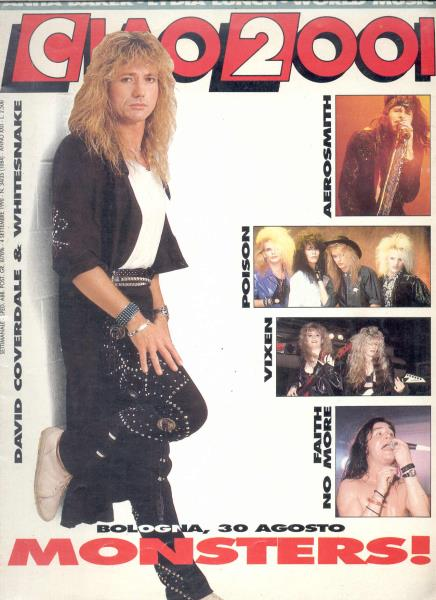 Whitesnake Ciao 2001(04.09.1990)(Italian 1990 Whitesnake Front Cover Magazine) MEMORABILI