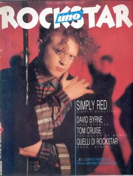 Simply Red Rockstar(Feb. 1987)(Italian 1987 Simply Red Front Cover Magazine) MEMORABILI