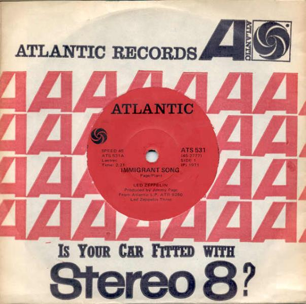 images of Immigrant song(south africa 1971 2-trk 7 atlantic slv) ATLANTIC