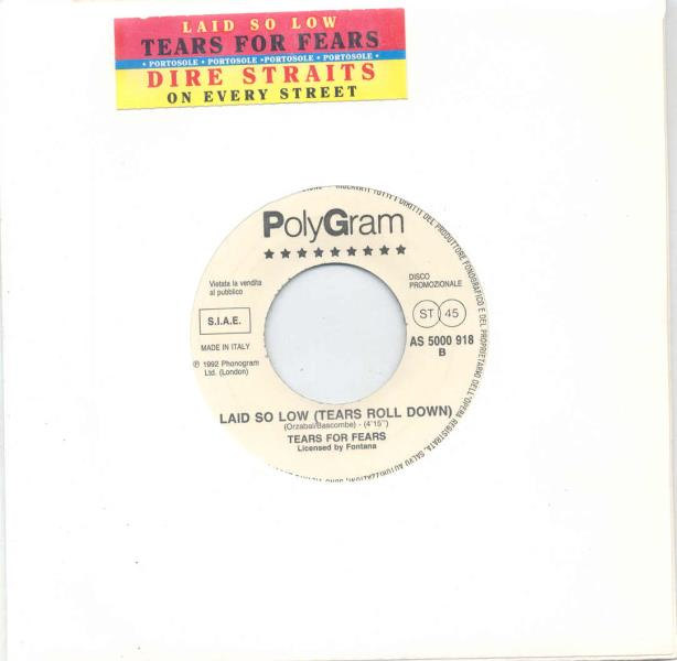 Tears For Fears Laid So Low(Italian 1992 1-Trk W/Label 7'' Promo Title Sticker Slv) 7''