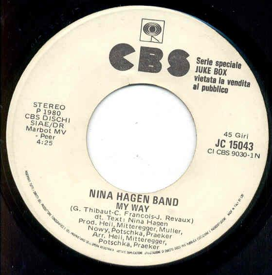 Hagen,Nina My Way(Italian 1981 1-Trk W/Label 7'' Promo) 7''
