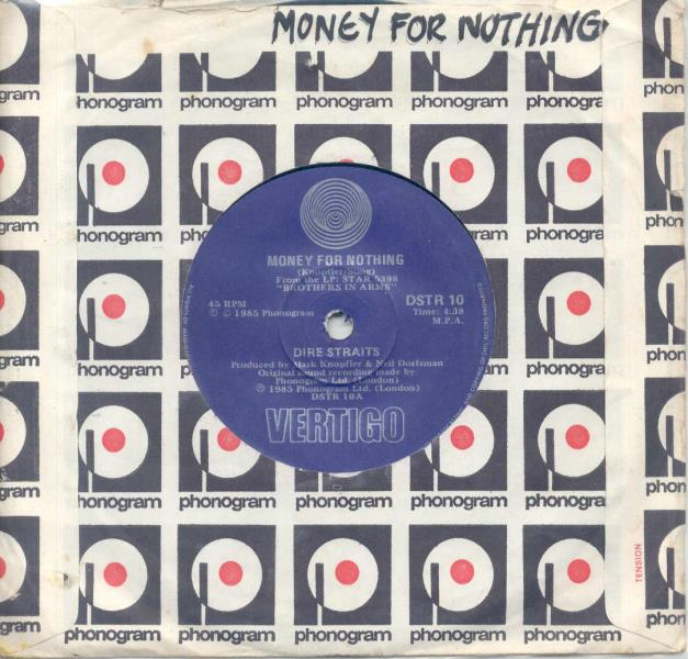 images of Money for nothing(south africa 1985 2-trk single phonogram slv) VERTIGO