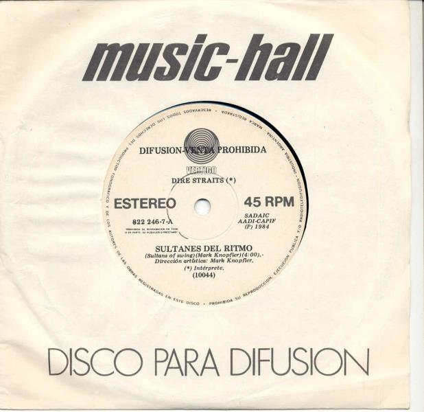 images of Sultanes del ritmo(argentina 1984 2-trk w label promo single company slv) VERTIGO