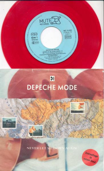 Depeche Mode Never Let Me Down Again(German 1987 Ltd 2-Trk Single Red Vinyl Full Ps) 45:PICSLEEVE