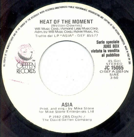 Asia Heat+Of+The+Moment(Italian+1982+1-Trk+W/Label+7''+Promo+Single) 7''