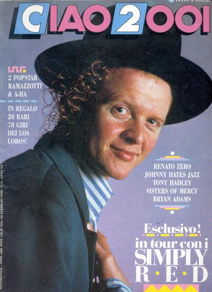 Simply Red Ciao 2001(10.02.1988)(Italian 1988 Simply Red Front Cover Magazine) MEMORABILI